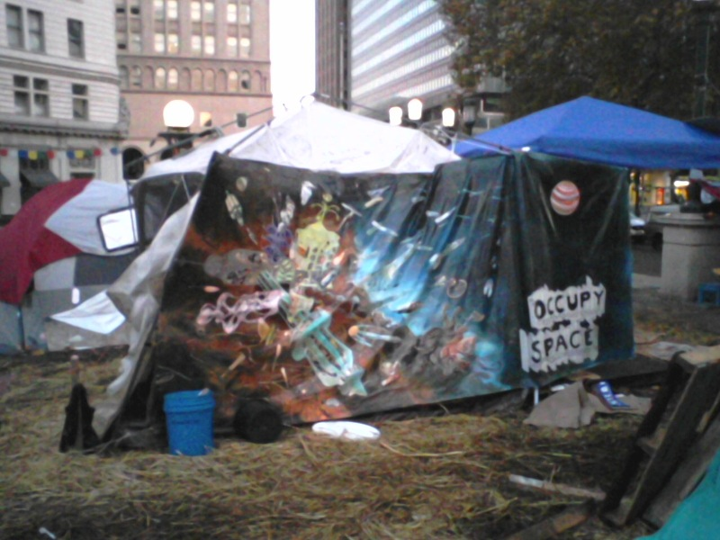 The next day the painting was taken down by protesters and used as a shelter.