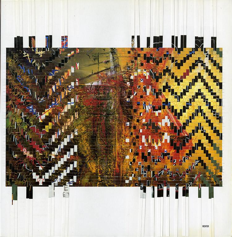 basquiatrichter, 2015, paper weaving, 13 x 13 framed