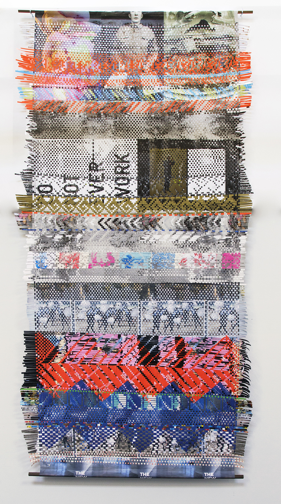 Tall Weaving, 2016, woven paper ephemera from art exhibitions, 119 x 60