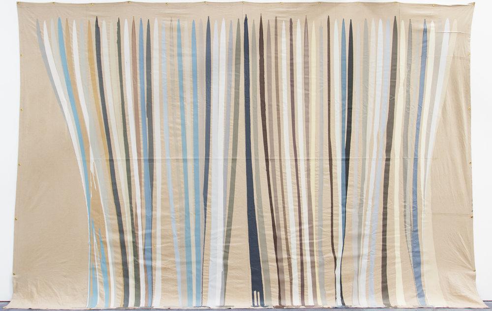 Paint Pour #1, latex on canvas, 18 x 12 ft
