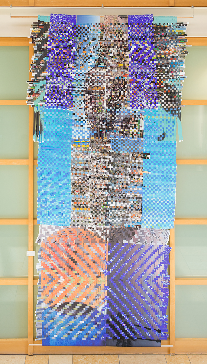 Memory Pixels, 2017, woven photographs printed on paper, 16ft x 6 ft. Commission for YouTube, Inc., administered by LimeShift. Photo by Tahir Karmali.