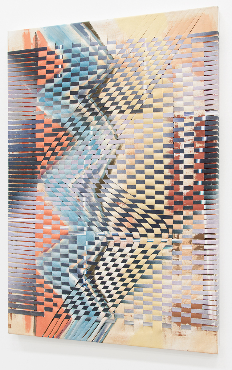 Que Honda, 2017, oil and acrylic on woven canvas strips, 30 x 44 in