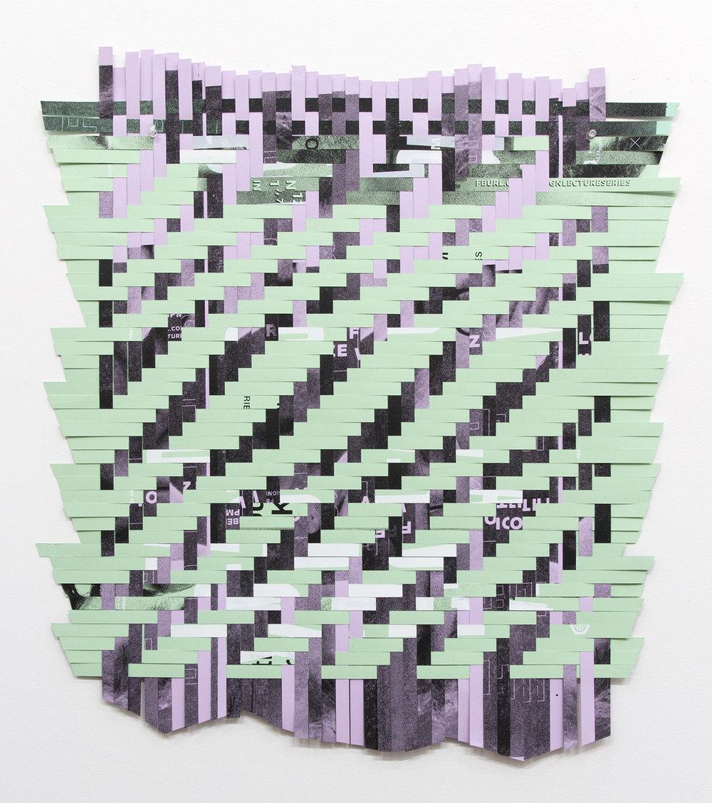 "ARL_004, 2017, woven Facebook silkscreen posters,  26 x 24"""