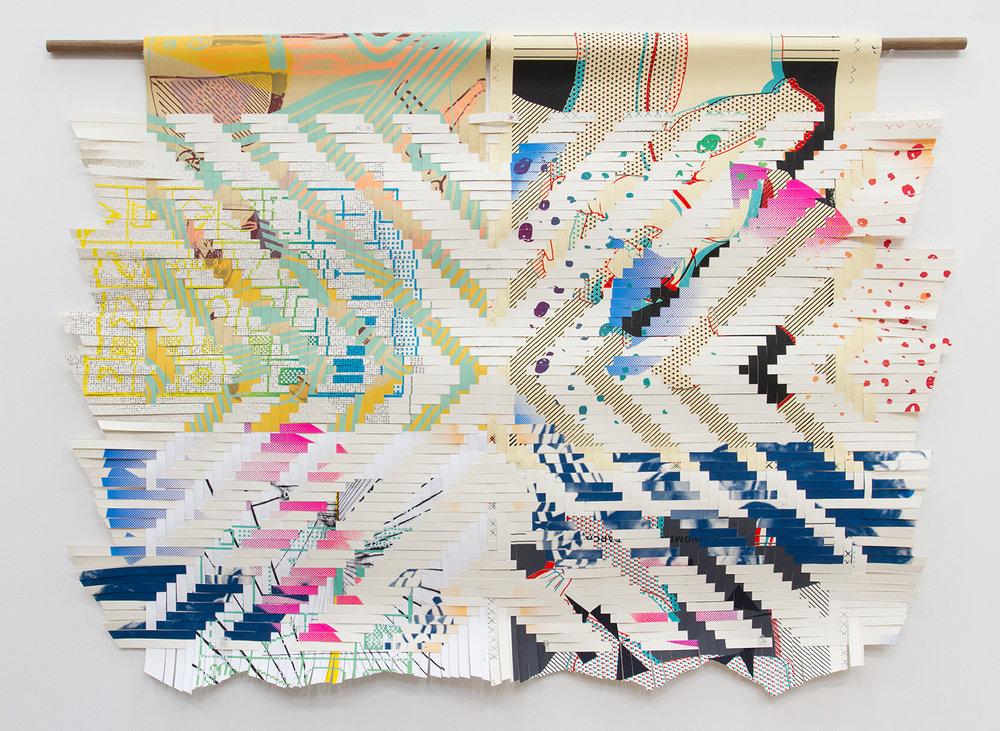 "ARL_010, 2017, woven Facebook silkscreen posters, 35x48"""