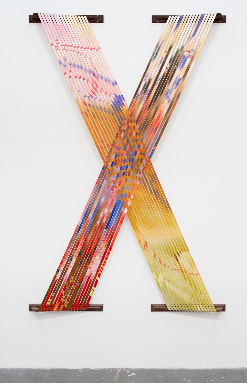 Strip Painting, acrylic on canvas strips, custom walnut brackets, 100 x 68 in.