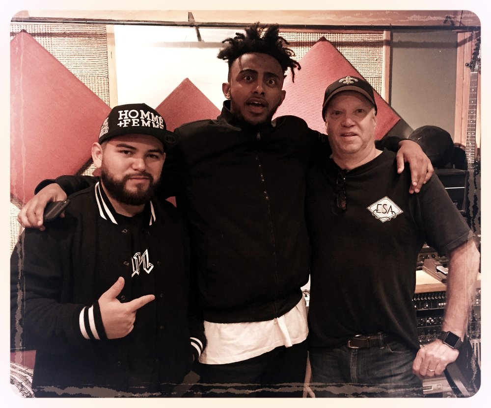 Pictured with super engineer Morning Estrada ( MixedByMorning ) and dB of ES Audio