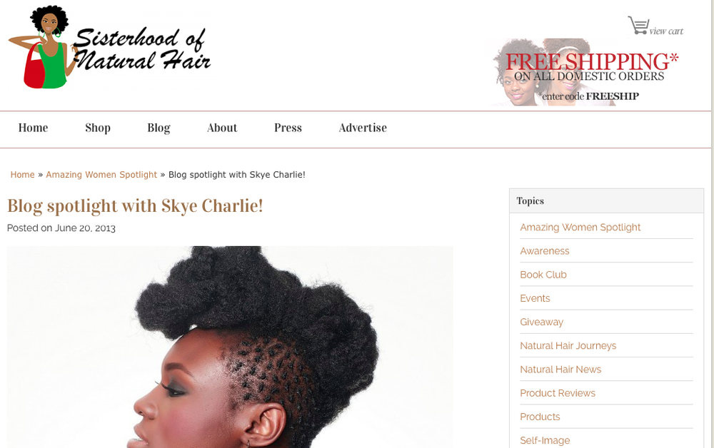 http://sisterhoodofnaturalhair.com/blog-spotlight-with-skye-charlie/