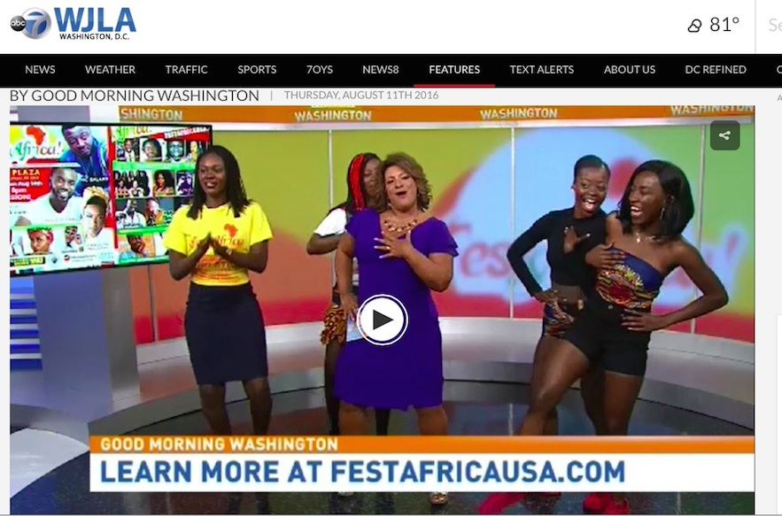 To view the video click the link or visit: http://wjla.com/features/good-morning-washington/previewing-the-14th-annual-festafrica-festival