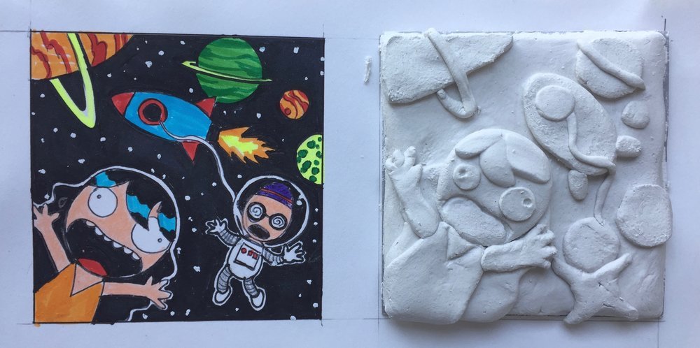 Paper Clay Tile Sculpture by Richard Lee