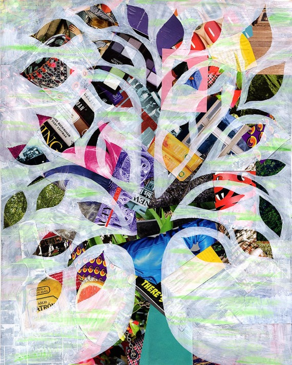 A finished magazine collage of a tree.