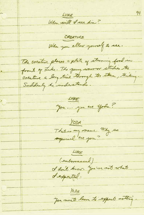 Lawrence Kasdan longhand script for The Empire Strikes Back