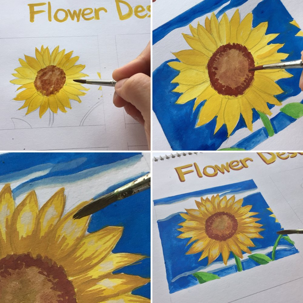 Painting Flowers Step by Step Process