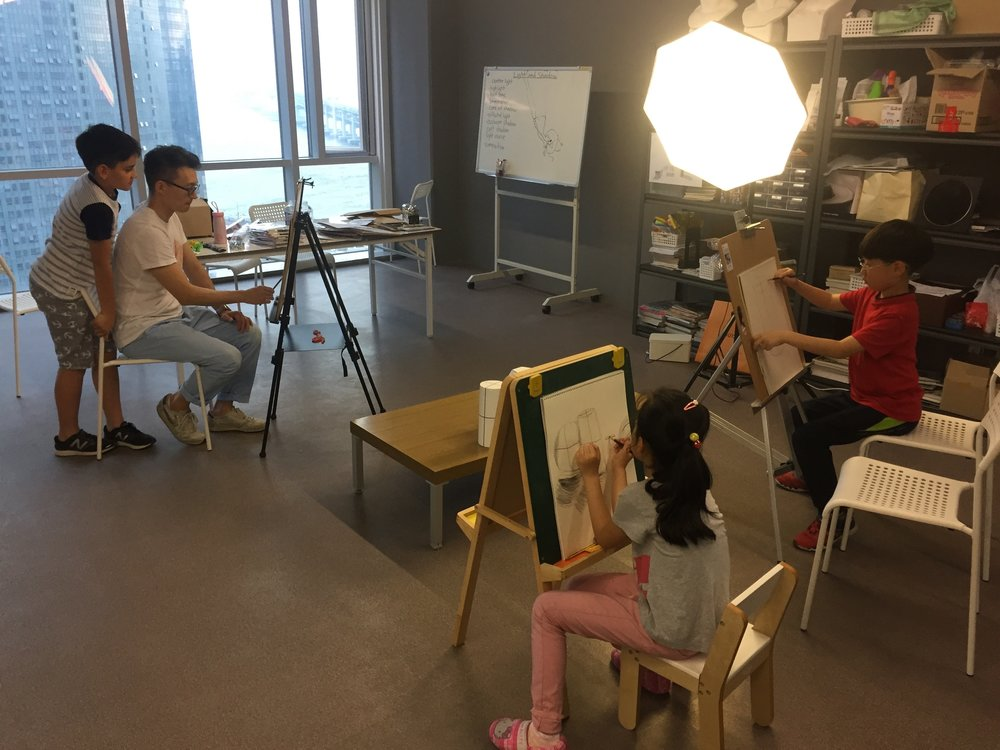 Still life drawing on art easels