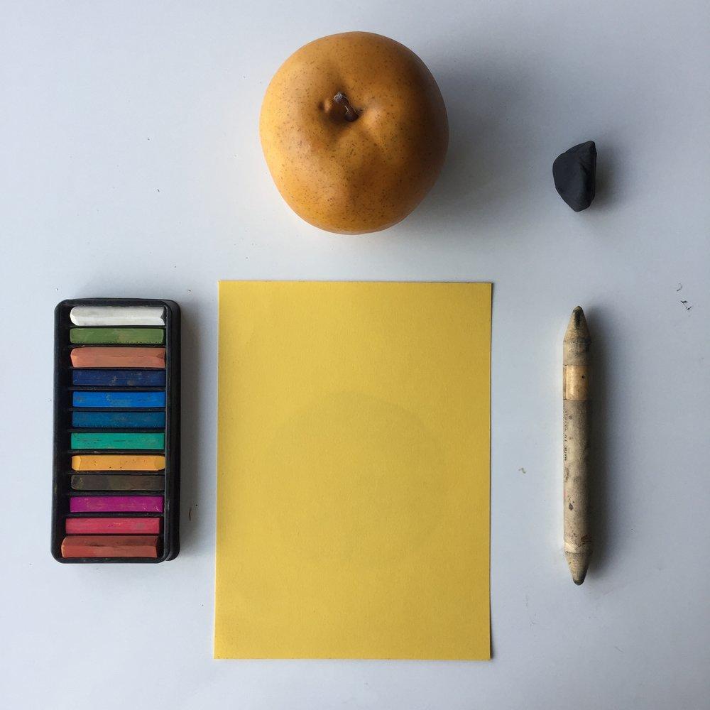 - Materialscolour conté stickscolour papersmudging stickskneadable erasersubject matter (fruit)