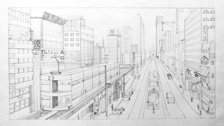 A drawing of a city in one-point  perspective.