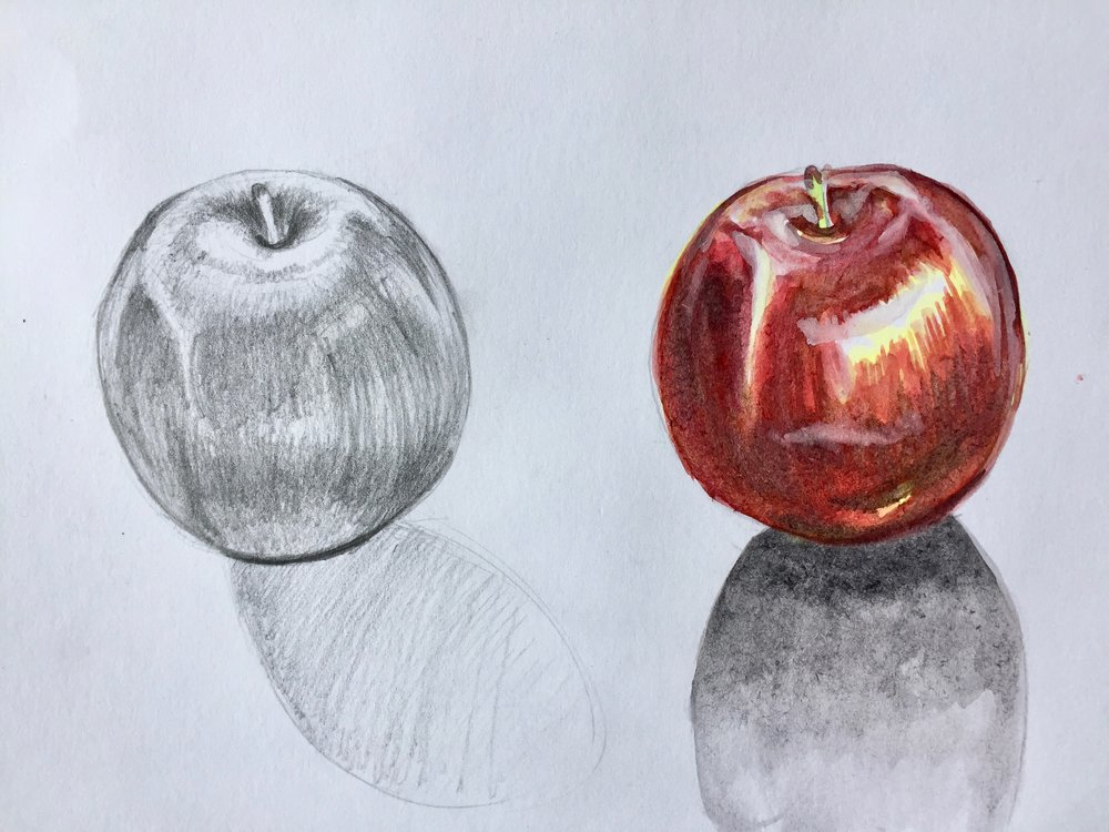 Apple tonal study and painting