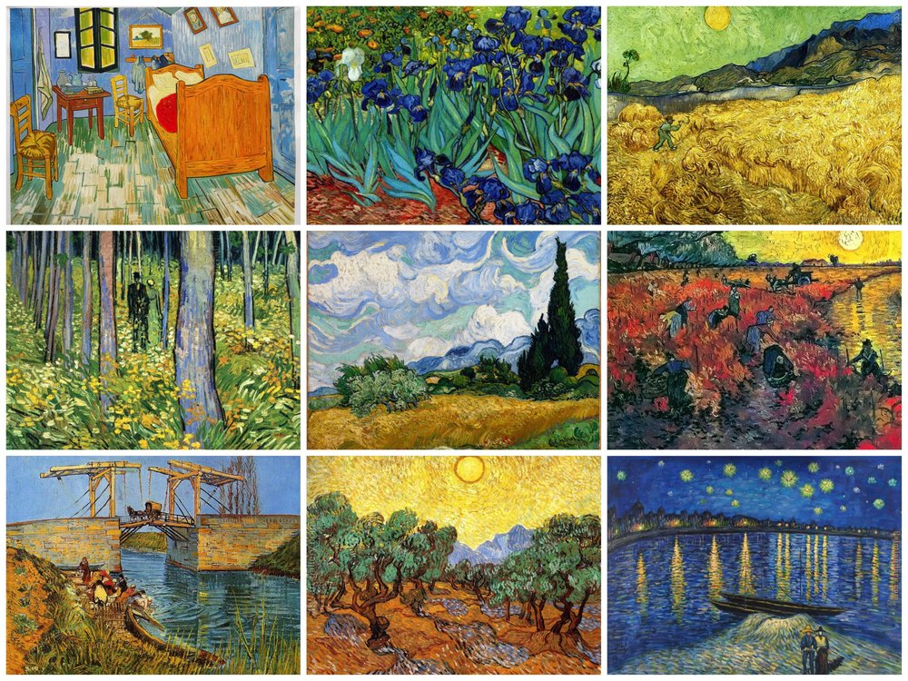 A collection of Vincent van Gogh's paintings