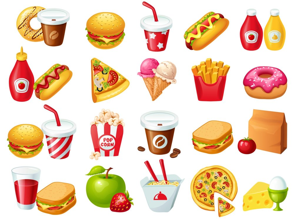 List of Fast Food - tacos, noodles, pizza, hamburger, french fries,fried chicken, ice cream,soda, coffee, donut, sandwich, spaghetti, hotdog