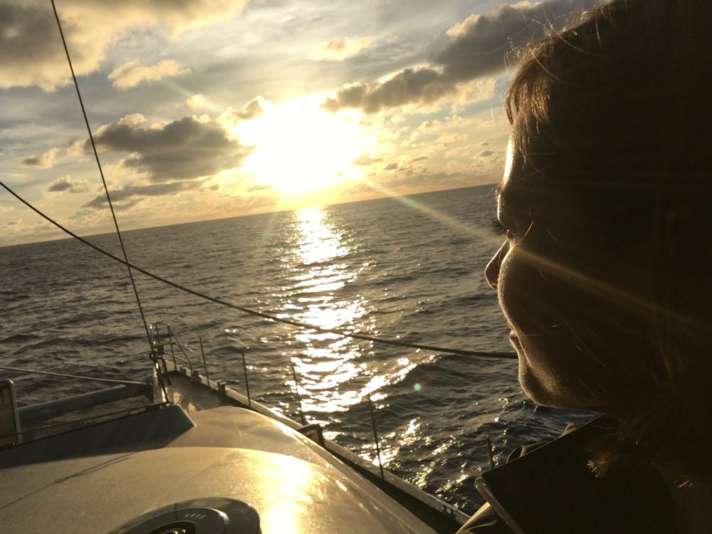 Sunrise watch on SY Cartouche, somewhere in the middle of the Atlantic - June 2016