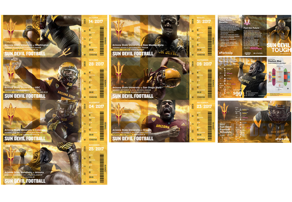 ASU Athletics Fall 2017  Football Ad Campaign   The campaign targets one of the largest  alumni and fan bases in the country,  seeking to inspire its audience through  the universal ideals represented in collegiate  competition — toughness, agility, speed,  teamwork and hope. A focus on building  loyalty among moderately to low-engaged  fans, alumni and students as well as the most  loyal of the fan base is seen in the images  and messaging highlighted throughout  campaign materials.  Conceptualization, design + production. Adobe InDesign, Photoshop + Illustrator  Addy Award · Silver   cr8@ sun devil athletics, arizona state university