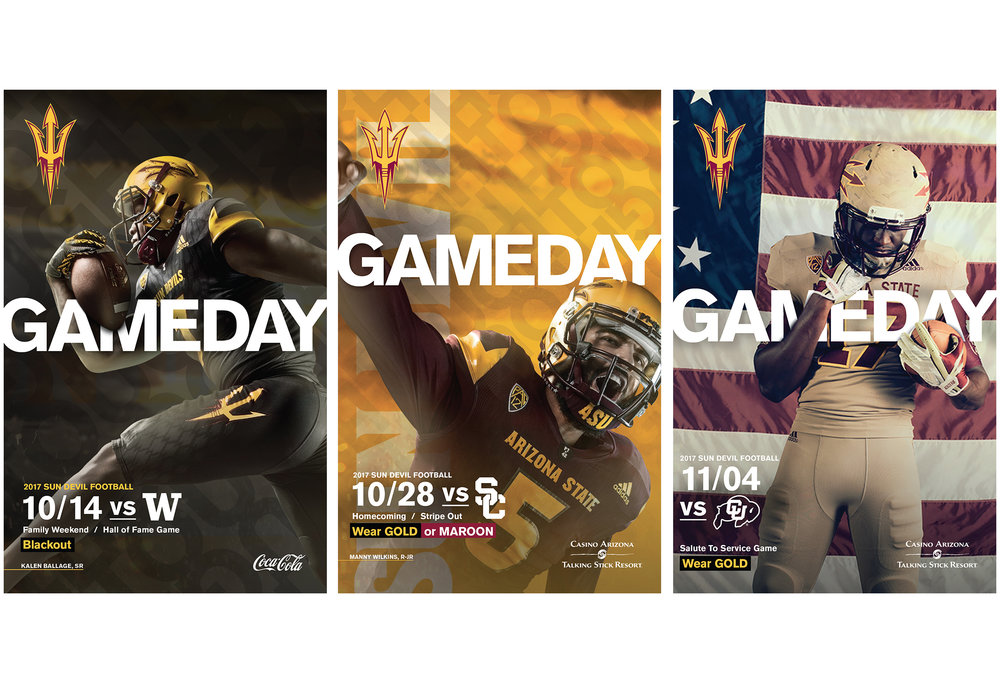 ASU Athletics Fall 2017  Football Ad Campaign   Music, imagery, voice-overs, copy and  scripts are seamless and consistent. A  united tone encourages the reader/ viewer/listener to connect with the  Sun Devil football team and the strength and commitment of its players. The tone  conveys a sense of innovation and forward- thinking, a journey toward a brighter future.  Conceptualization, design + production. Adobe InDesign, Photoshop + Illustrator  Addy Award · Silver   cr8@ sun devil athletics, arizona state university