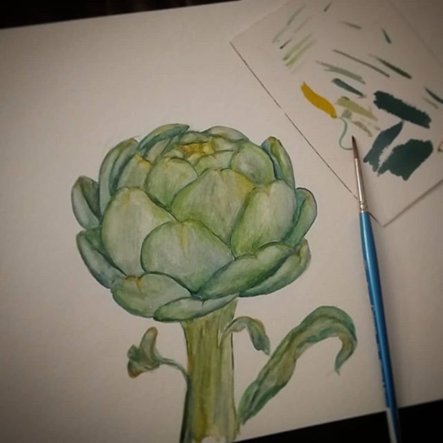 A little water coloring catharsis. I haven't painted in such a long time. I used to do it all the time. This afternoon off was just what I needed. #watercolor #artichoke #carciofi #callmegeorgiaokeefe