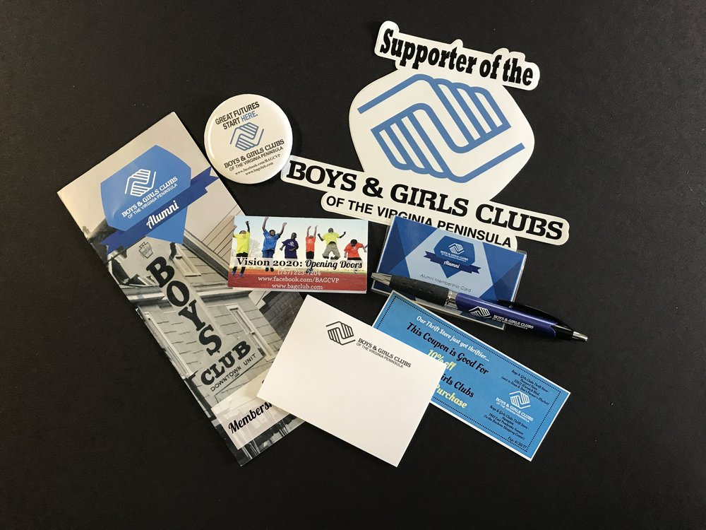 Boys & Girls Club - brochure x stickers x membership card x flyer x poster x logo x postcard x program x placemat x tshirt x website