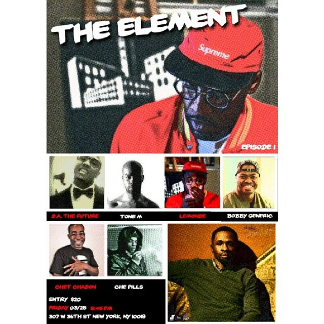 The Element: A night where art and hip hop collide! Smash Studios 307 W 36th St. New York, NY 10018 Doors open at 8:45 PM $20 at the door. #BiGCiTY2x #LiveShow #hiphop #CREED14 #TurnUp