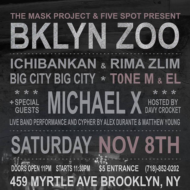One week left till the mayhem! Let's set it off y'all!!! #FollowYourCREED #TheMASKProject #LiveShow #Brooklyn #HipHop (at Five Spot Soul Food)
