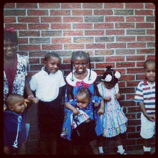 #TBT The big headed kid on the right with my younger brother, a few of my cousins, and my uncles. I don't know where we are though?!