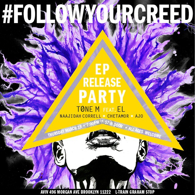 Come out to the Release Party tomorrow, March 19th. Doors open at 7:00 PM $7 Entry Everybody is welcome! #FollowYourCREED #LiveShow #BiGCiTY2x Art by @autumnmorg (at 496 Morgan Avenue Brooklyn, NY 11222)