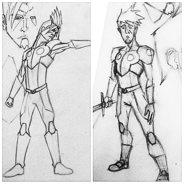 Connor Pendrägon Before|After evolution. And I'm still tweaking him. The neverending struggle. #Illustration #Pendrägon #ConnerPendrägon #characterdesign