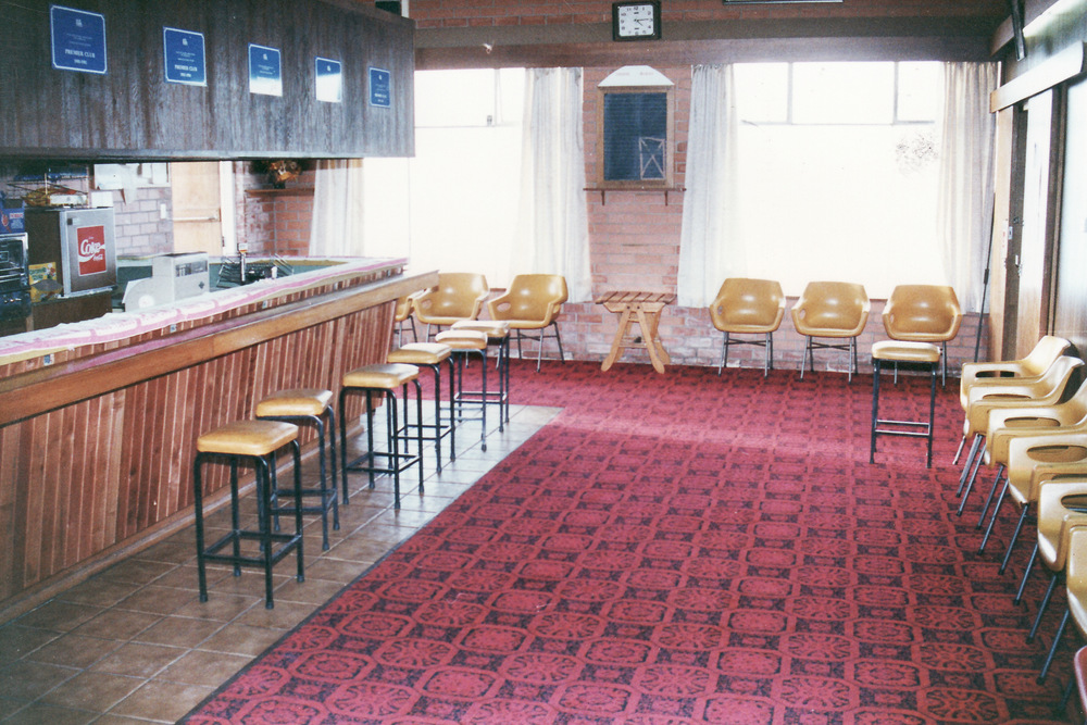 1992-93 Former bar with new carpet and new bar front. Wall still in place