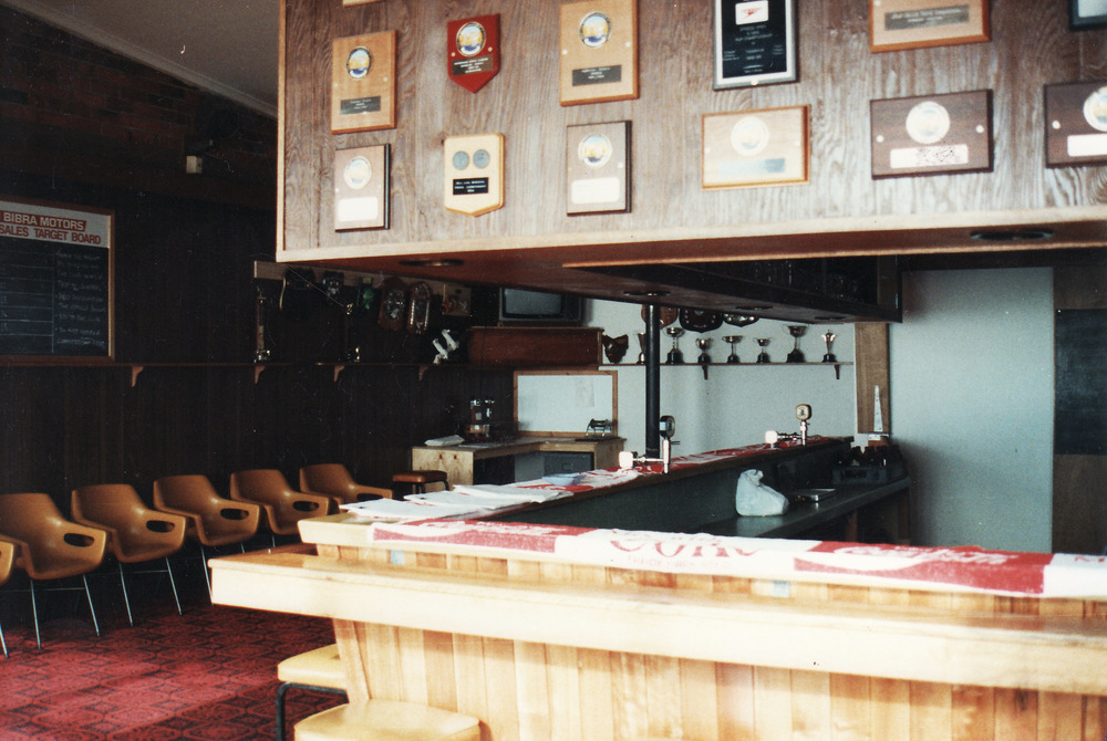 1992-93 Former bar with new carpet and Shields above bar. Wall still in place