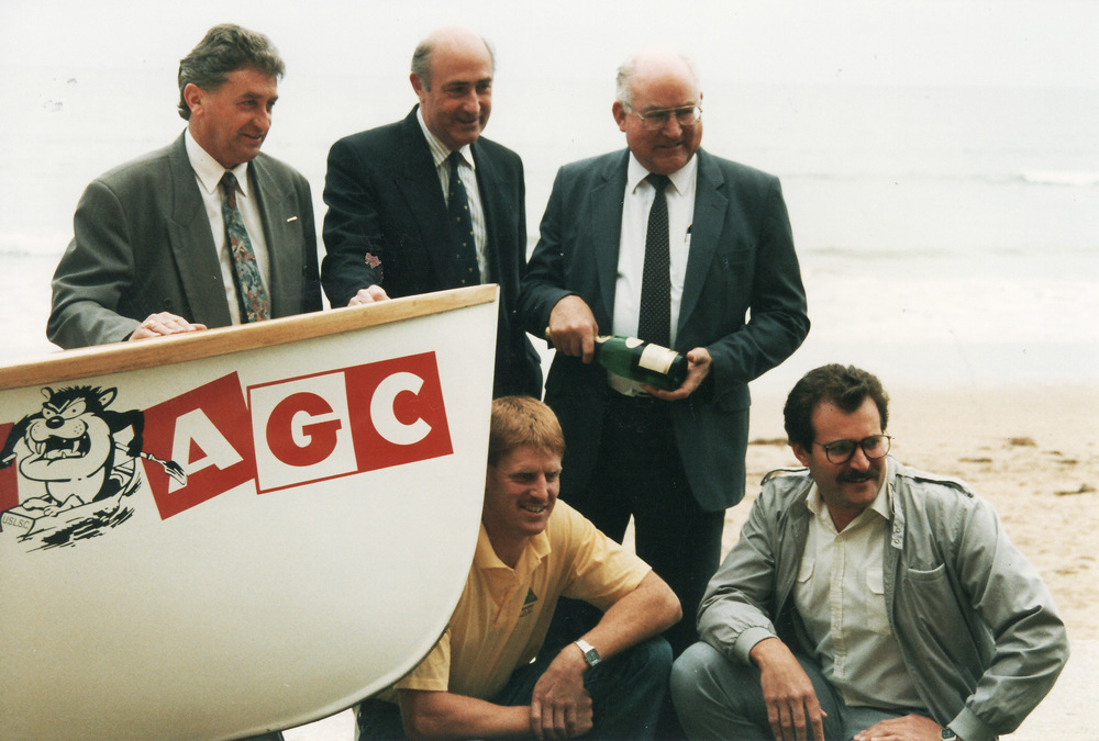 1992-93 AGC Boat Launch Von Bibra, J French, AGC, Wils, Crock