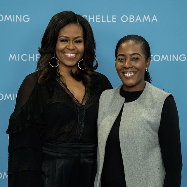 @michelleobama and I ❤️ she was such a sweetheart. It's crazy. Last year I had a dream of meeting the Obama's and then I meet Michelle. #michelleobama #blackgirlmagic