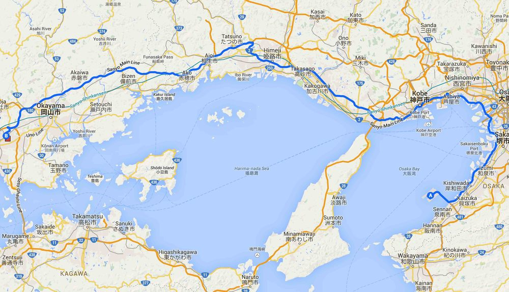 A.  關西機場      →  B.  倉敷