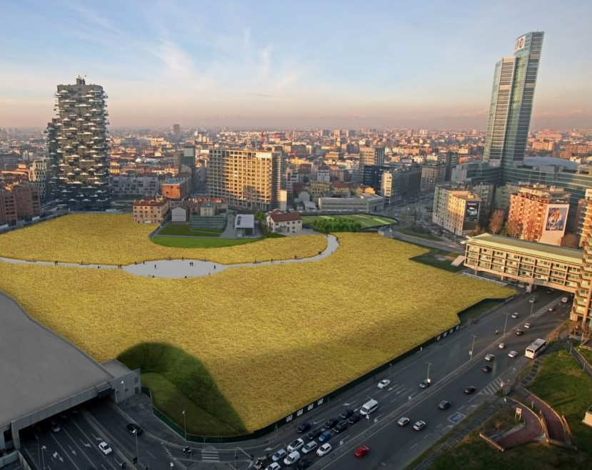 Wheatfield, the new work by Agnes Denes, in a computer rendering.