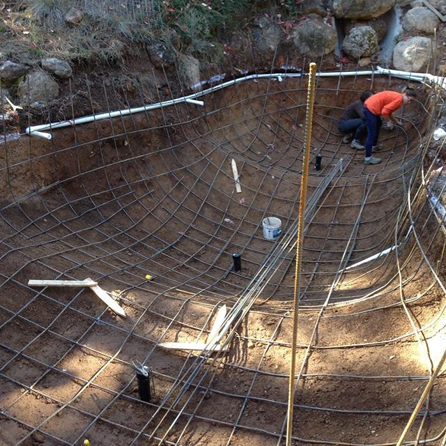 10,000 gallon koi pond and aquaponic garden being readied for concrete