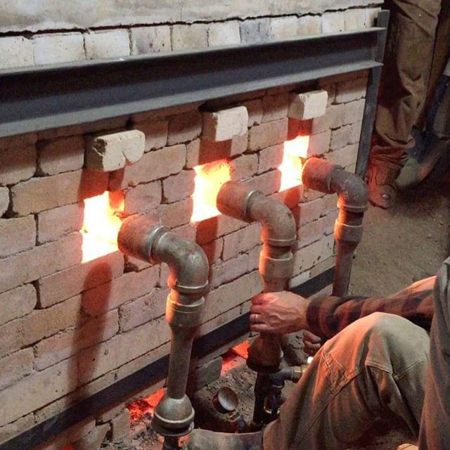 Scott Parady adjusting gas on the Soda Kiln
