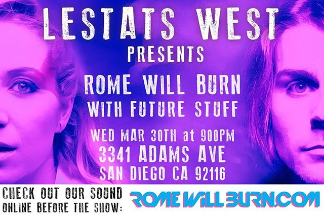 Playing San Diego next Wed! Free show + all ages See u there!  #romewillburn #rwb #lestats #duo #concert #show #live #music #pop #poplife #edm #edmfamily #alyssasuede #manifesto #singer #violin #sandiego #sd