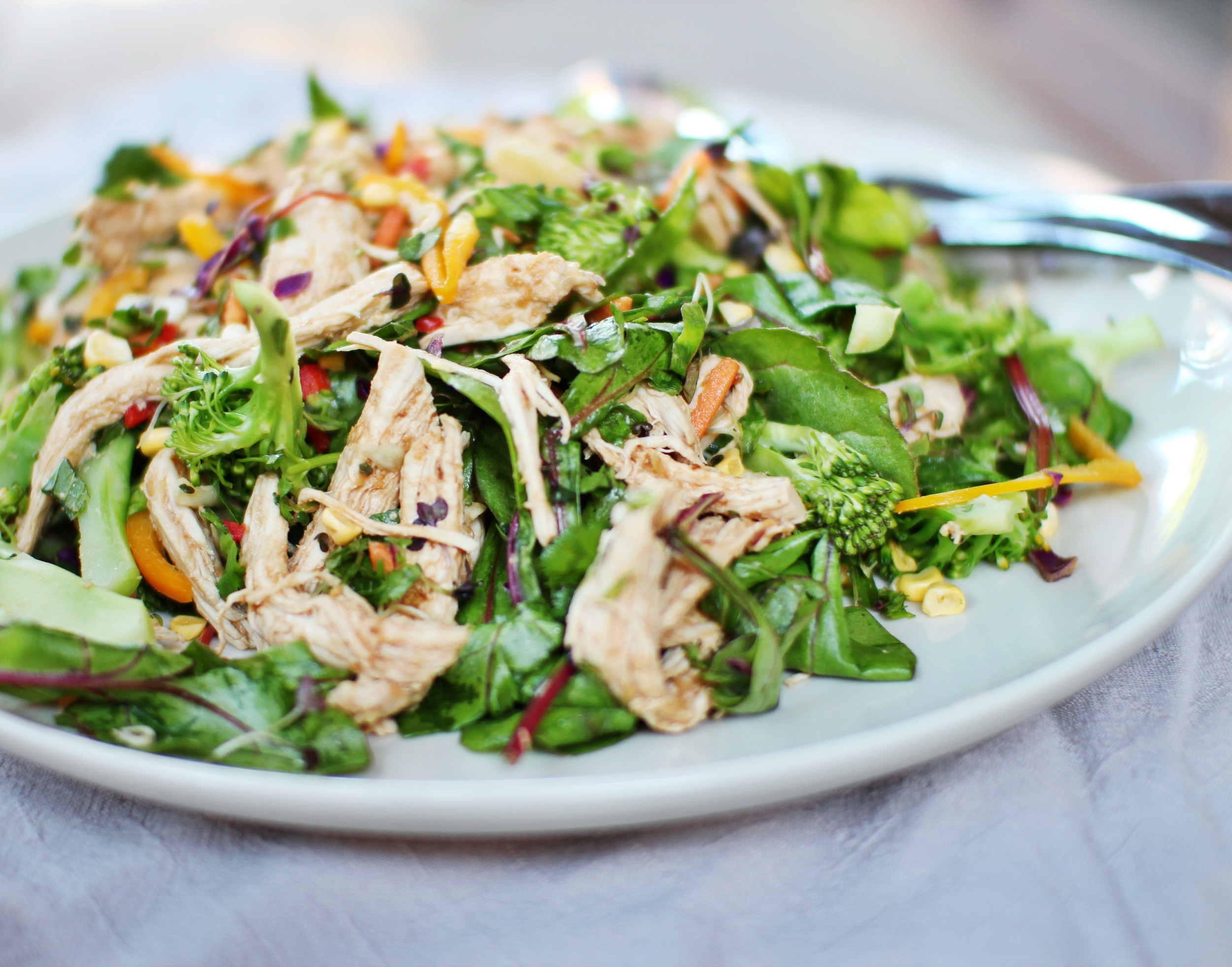 Rainbow Salad with Poached Chicken & Miso Dressing — LIZANNE MARR