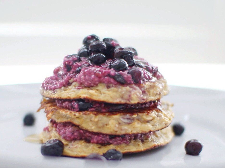 Coconut Oat Pancakes with Blueberry Chia Jam