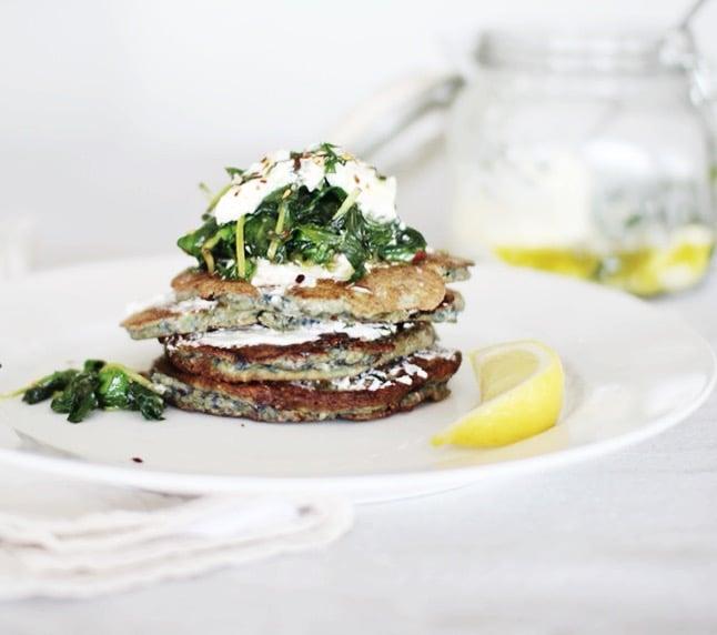 Savoury pancakes with labneh