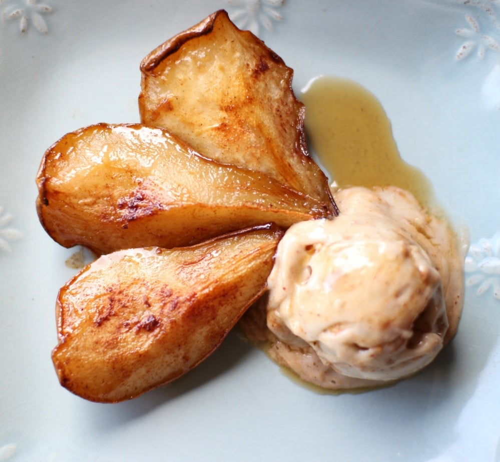 Baked Pears with Banana & Almond Butter Ice cream