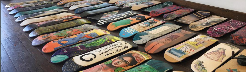Fast Plant III featuring over 100 skate decks by over 100 artists at No Comply Gallery - 6 Laurel St, Toowoomba.