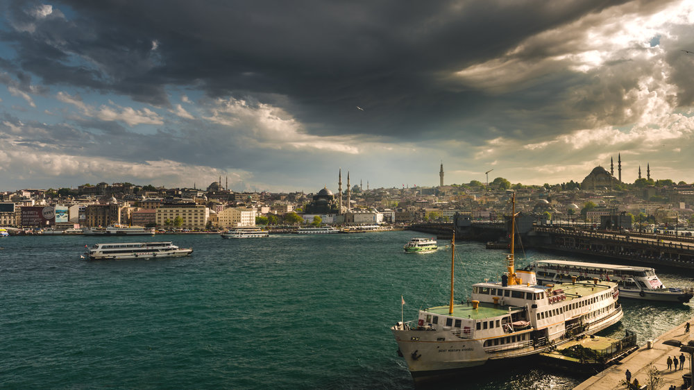 Afternoon spring storms roll over Istanbul dragging the golden hour behind it.   (That seagull gets me every time I look at this)
