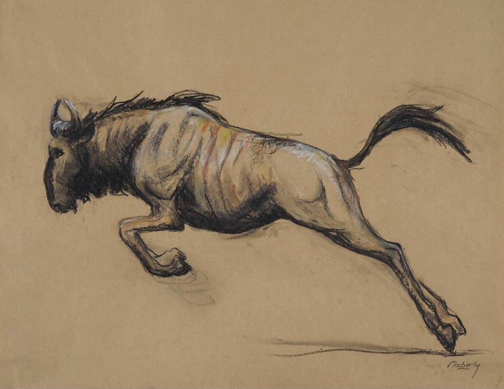Leaping wildebeest