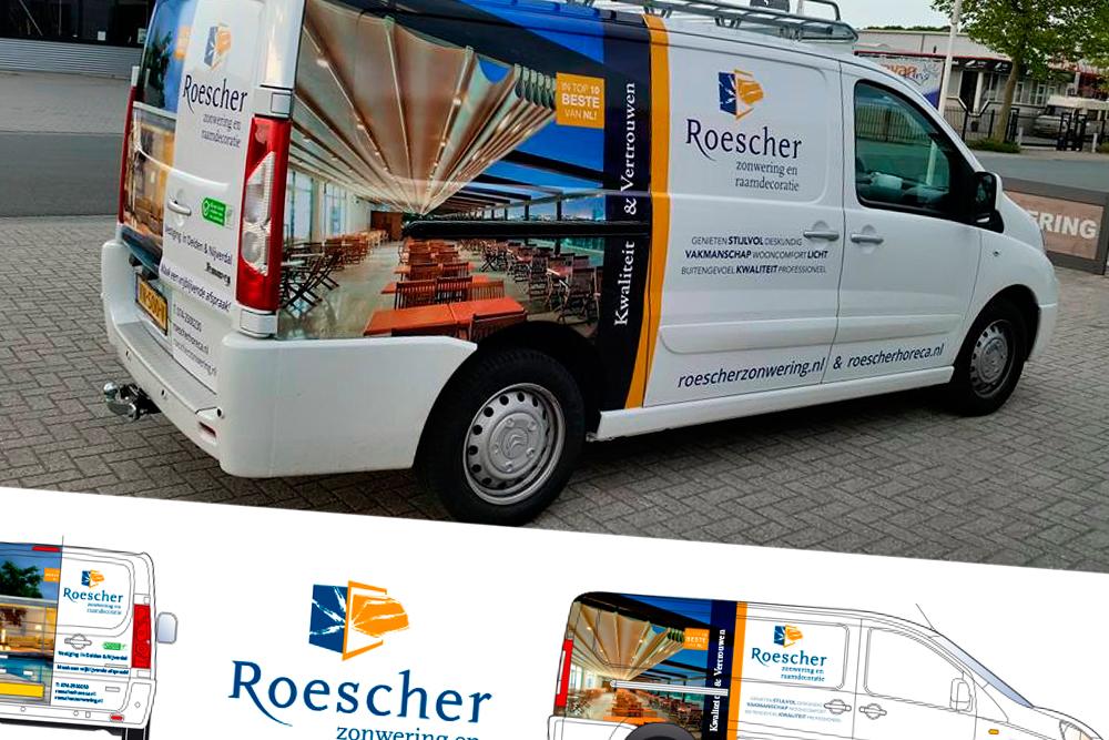 Roescher Zonwering bus belettering