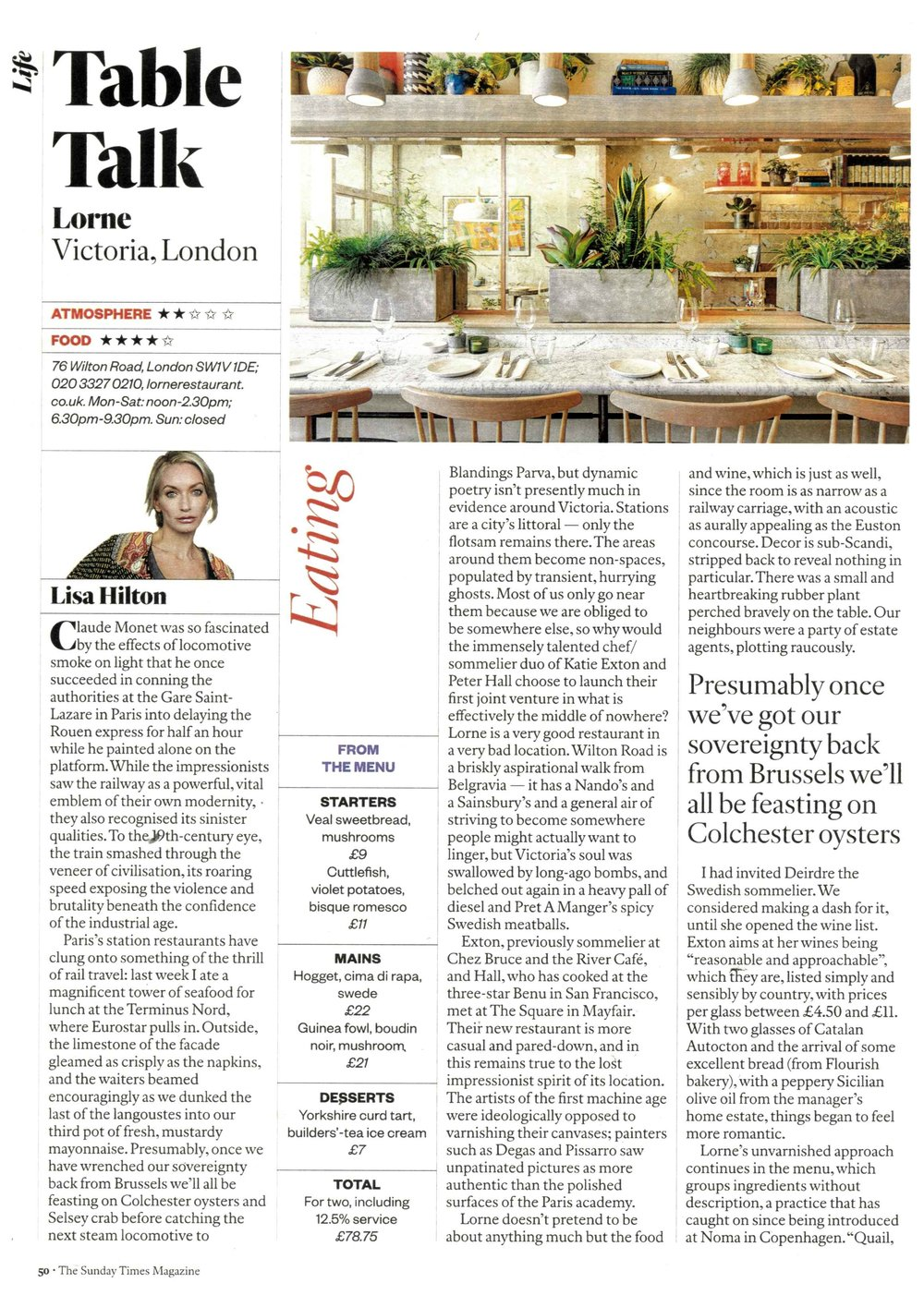 Sunday Times Magazine - Lorne Restaurant - Feature (1) - April Issue 2017.jpg